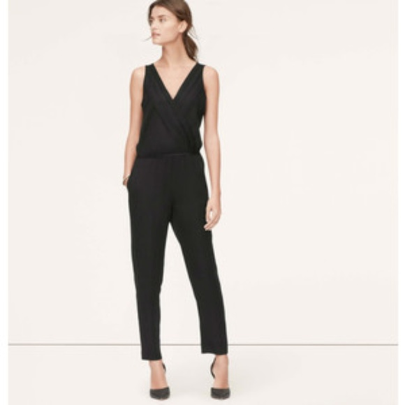 303f6b0202e NWT LOFT Black Pleated Wrap Sleeveless Jumpsuit